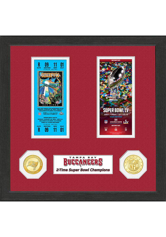Tampa Bay Buccaneers 2-Time Super Bowl Champions Ticket Collection Plaque - Image 1