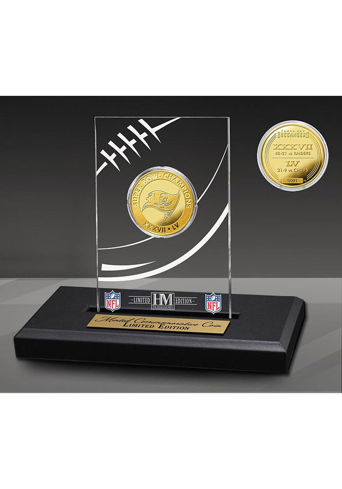 Tampa Bay Buccaneers 2-Time Super Bowl Champions Acrylic Display 24KT Gold Collectible Coin - Image 1