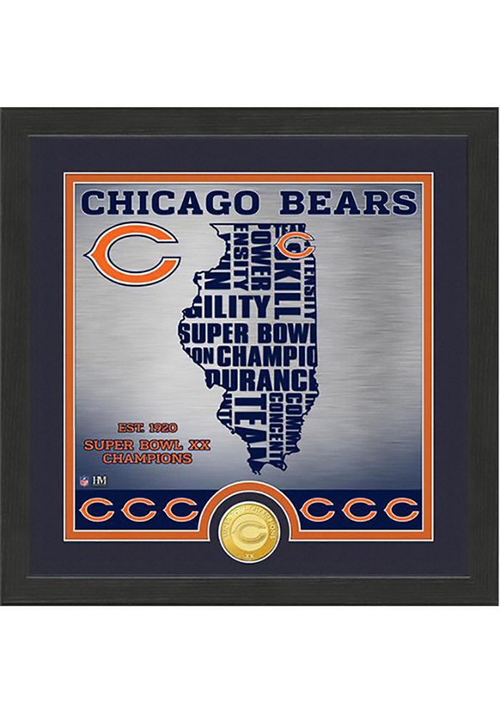 Chicago Bears 13x13 State Bronze Coin Photo Mint Plaque - Image 1
