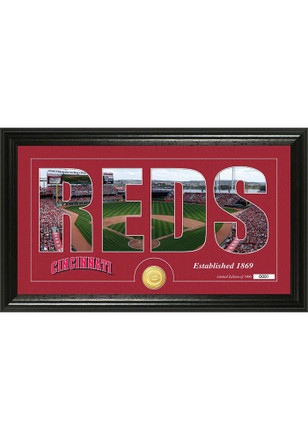 Cincinnati Reds 12x20 Silhouette Word Art Photo Mint Plaque
