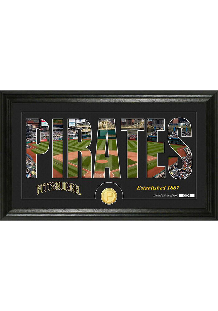 Pittsburgh Pirates 12x20 Silhouette Word Art Photo Mint Plaque - Image 1