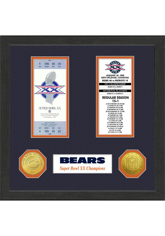 Chicago Bears 13x13 Super Bowl Ticket Collection Plaque - Image 1
