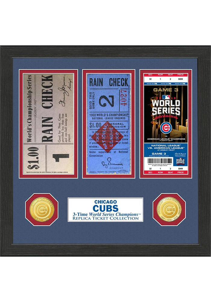 Chicago Cubs 12x12 World Series Ticket Collection Plaque - Image 1