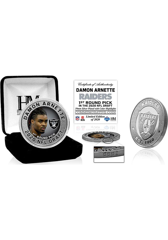 Las Vegas Raiders 2020 NFL Draft 1st Round Silver Collectible Coin - Image 1