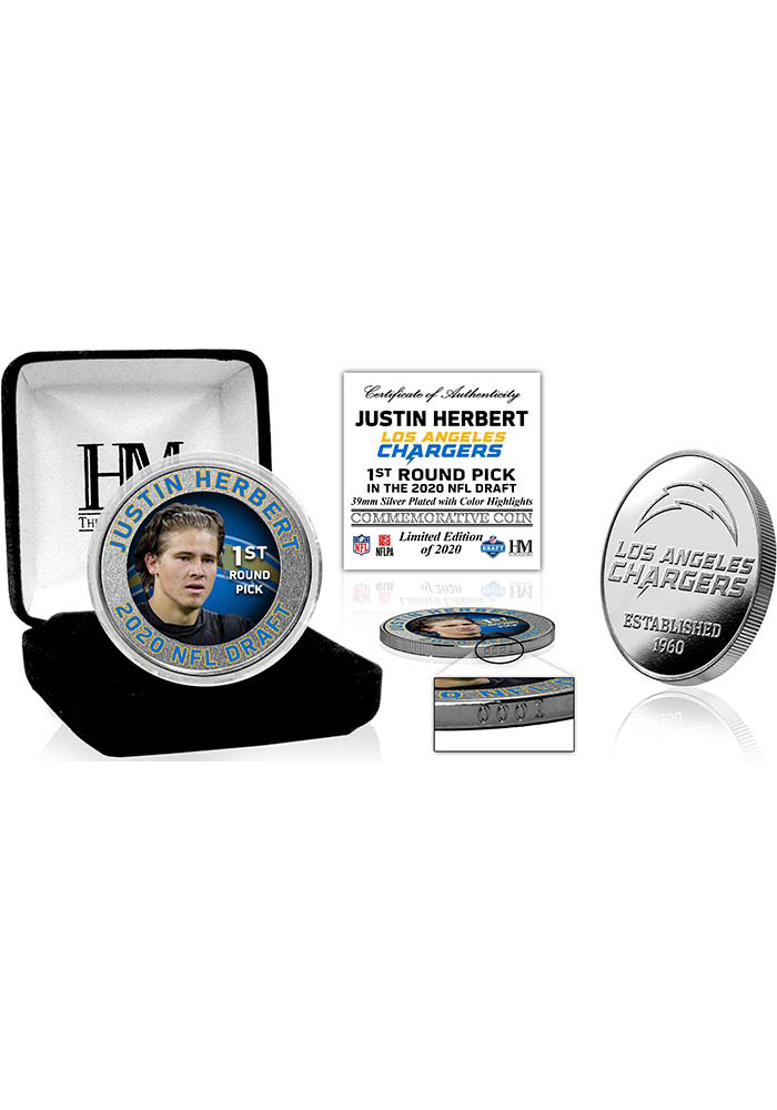 Los Angeles Chargers 2020 NFL Draft 1st Round Silver Collectible Coin - Image 1