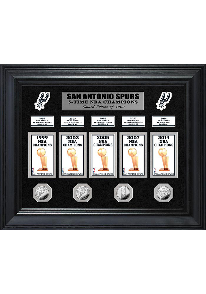 San Antonio Spurs Five Time NBA Champions Deluxe Gold Coin and Banner Collection Plaque - Image 1