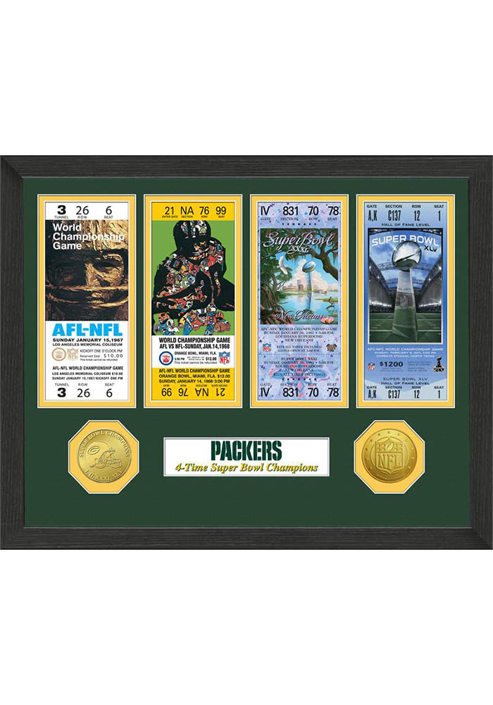 Green Bay Packers Super Bowl Championship Ticket Collection Plaque - Image 1