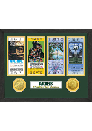 Green Bay Packers Super Bowl Championship Ticket Collection Plaque