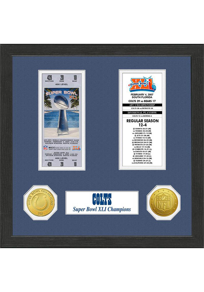 Indianapolis Colts Super Bowl Championship Ticket Collection Plaque - Image 1