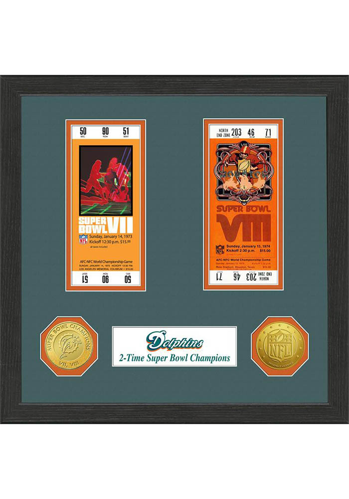 Miami Dolphins Super Bowl Championship Ticket Collection Plaque - Image 1