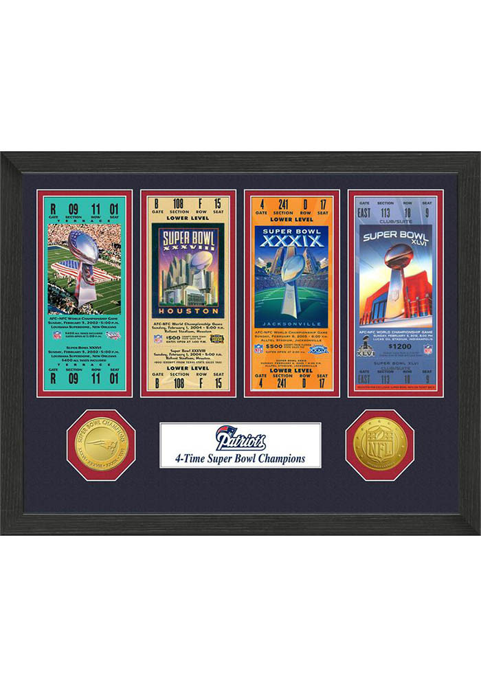 New England Patriots Super Bowl Championship Ticket Collection Plaque - Image 1