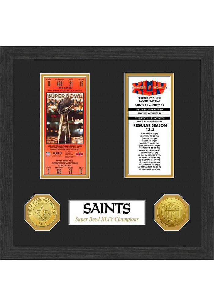 New Orleans Saints Super Bowl Championship Ticket Collection Plaque - Image 1