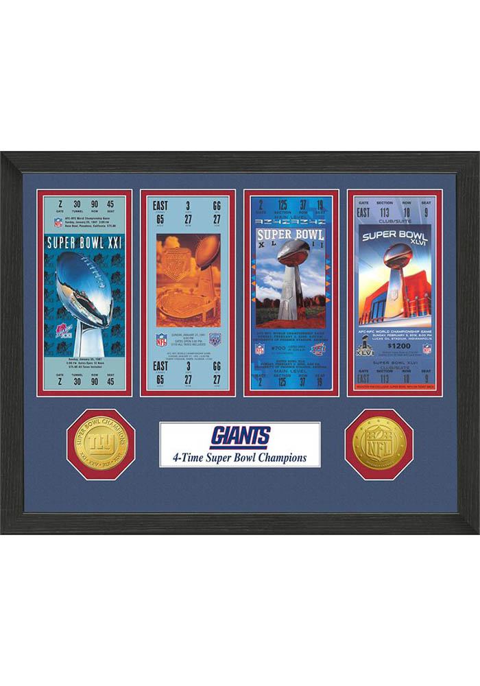 New York Giants Super Bowl Championship Ticket Collection Interior Rug - Image 1