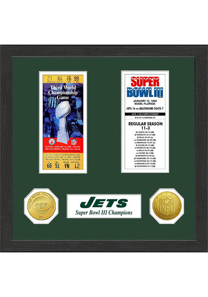 New York Jets Super Bowl Championship Ticket Collection Plaque - Image 1