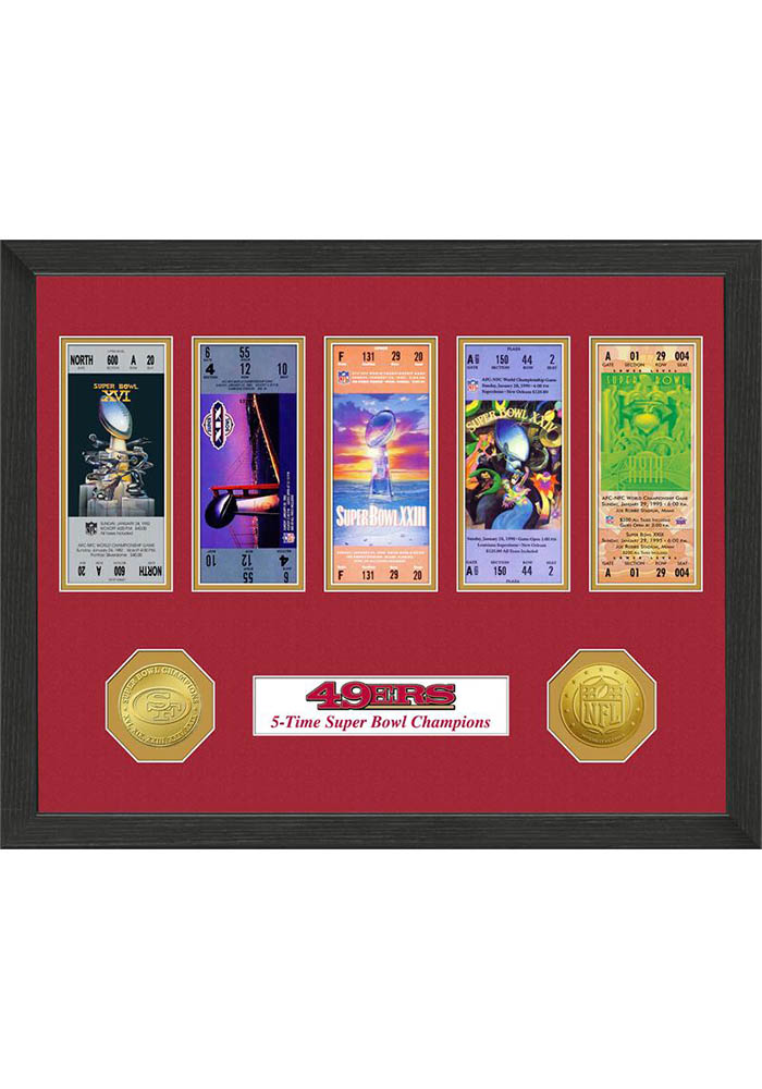 San Francisco 49ers Super Bowl Championship Ticket Collection Plaque - Image 1