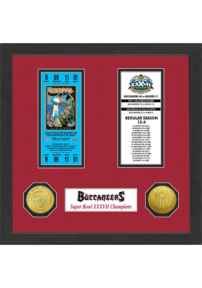 Tampa Bay Buccaneers Super Bowl Championship Ticket Collection Plaque - Image 1