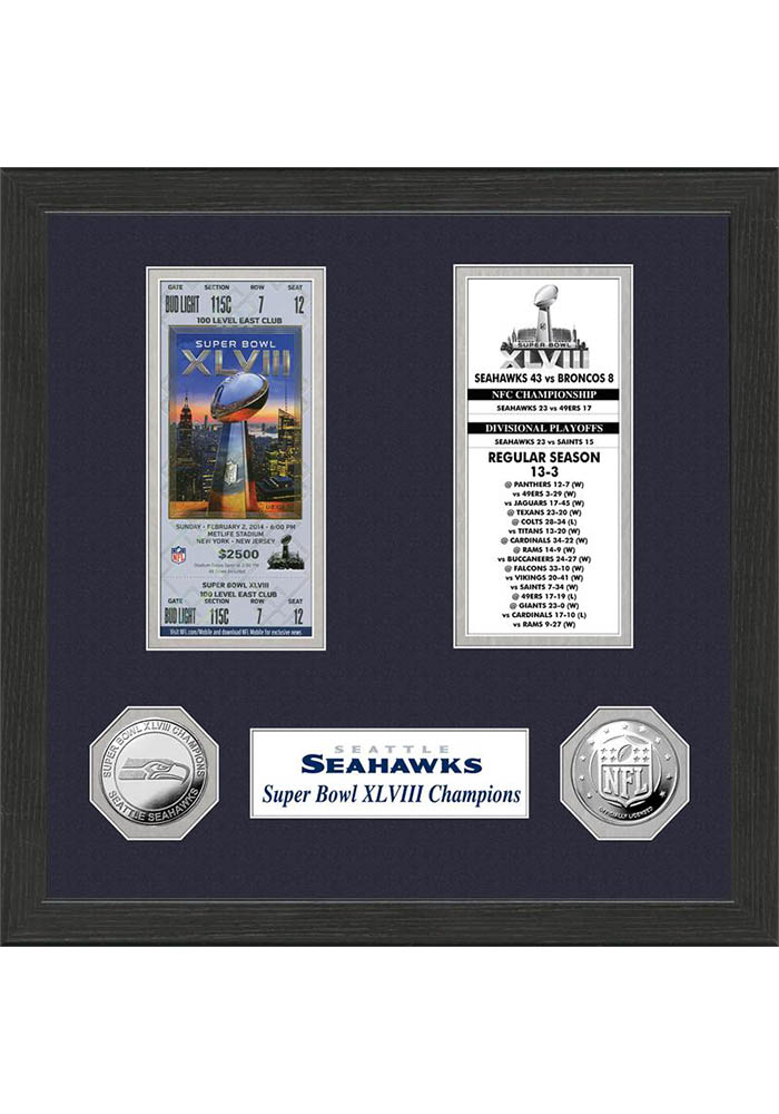 Seattle Seahawks Super Bowl Championship Ticket Collection Plaque - Image 1