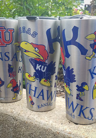 Tervis Tumblers Kansas Jayhawks Throwback All-Over 30oz Stainless Steel Tumbler - Silver