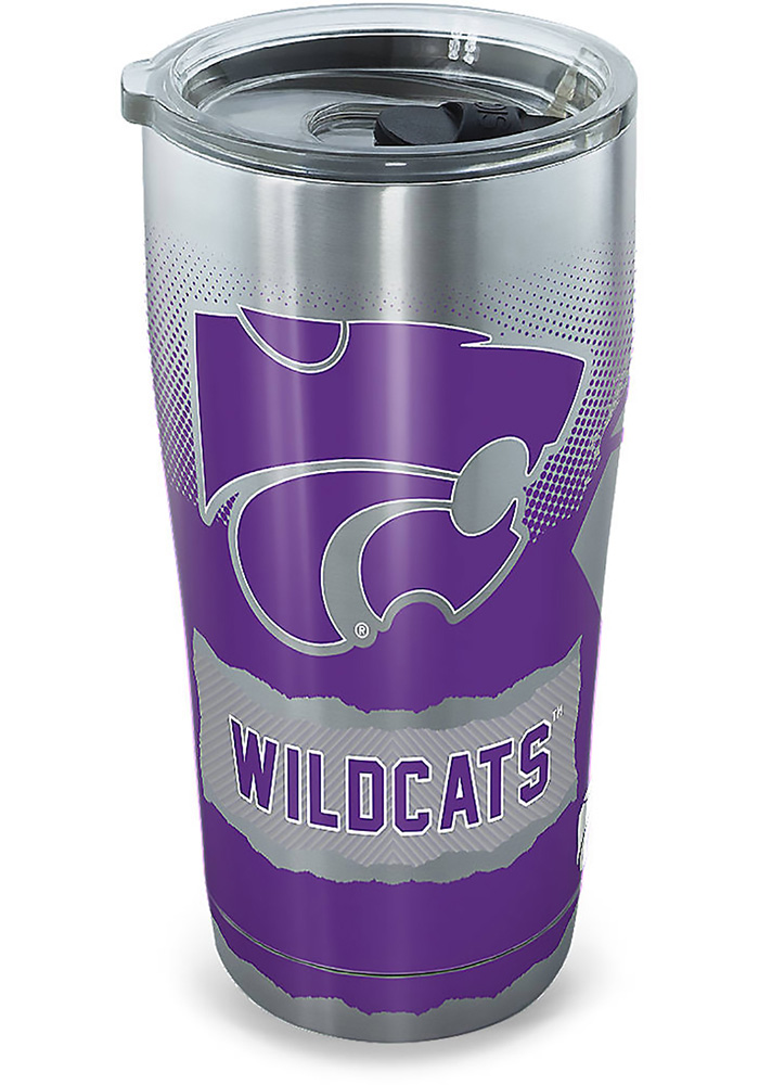 K-State Wildcats 20oz Grey Stainless Steel Tumbler - Image 1
