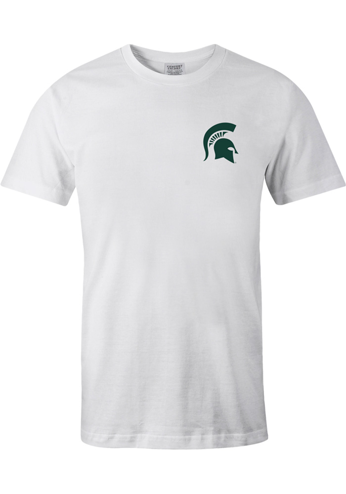 Michigan State Spartans Womens White Bow State Short Sleeve Unisex Tee - Image 2