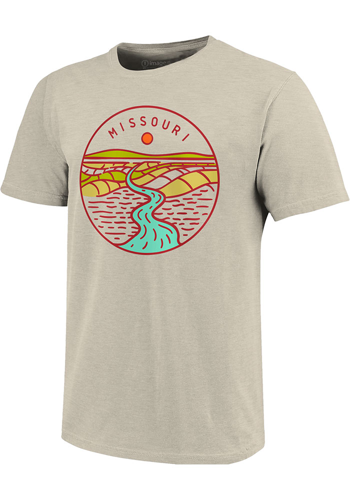 Missouri Oatmeal River Line Icon Short Sleeve Triblend T Shirt - Image 1