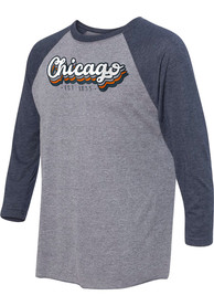 Chicago Grey Stacked Script Raglan ¾ Sleeve T Shirt