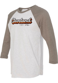 Cleveland White Stacked Script Raglan ¾ Sleeve T Shirt