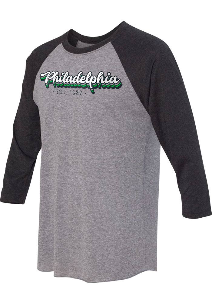 Philly Grey Stacked Script Raglan ¾ Sleeve T Shirt - Image 1