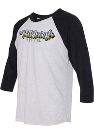 Pittsburgh White Stacked Script Raglan ¾ Sleeve T Shirt