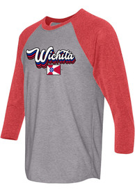 Wichita Grey Stacked Script Flag Raglan 3/4 Sleeve T Shirt