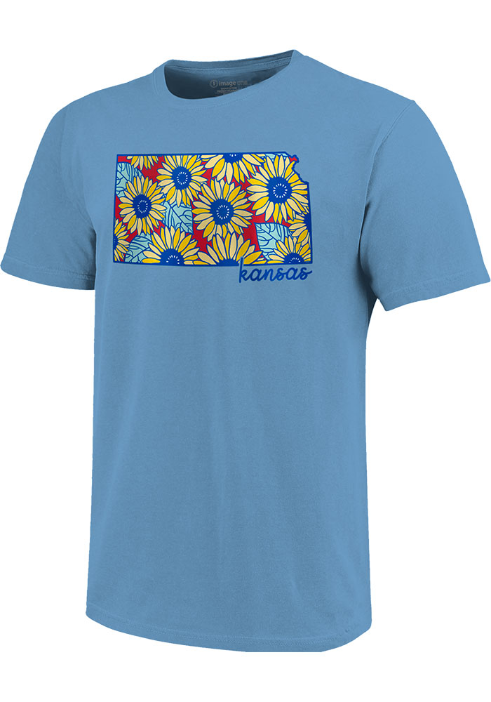 Kansas Light Blue Sunflower State Short Sleeve T Shirt