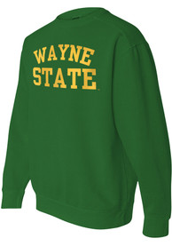 Wayne State Warriors Womens Comfort Colors Crew Sweatshirt - Green