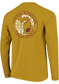 Central Michigan Chippewas Womens Comfort Colors Crew Neck Gold LS Tee