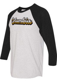 Columbia White 70s Stacked Script Raglan ¾ Sleeve T Shirt
