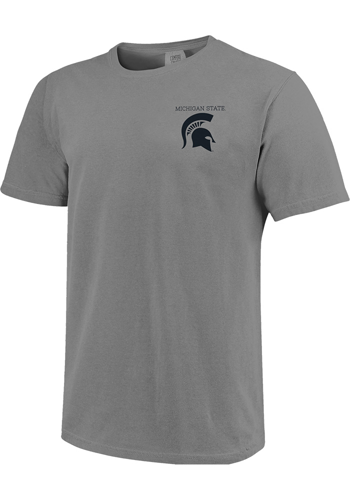 Michigan State Spartans Grey Comfort Colors Short Sleeve T Shirt - Image 1