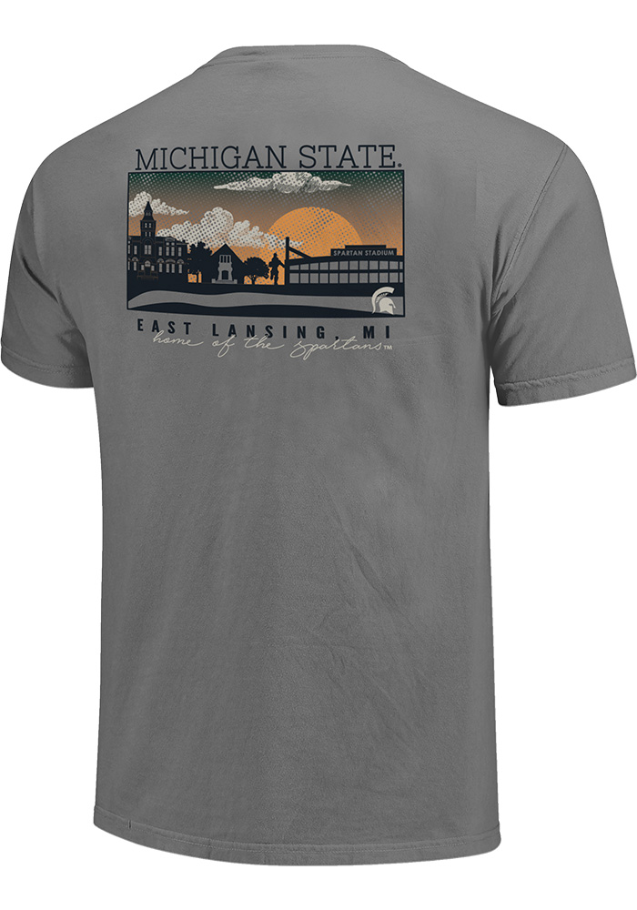 Michigan State Spartans Grey Comfort Colors Short Sleeve T Shirt - Image 2