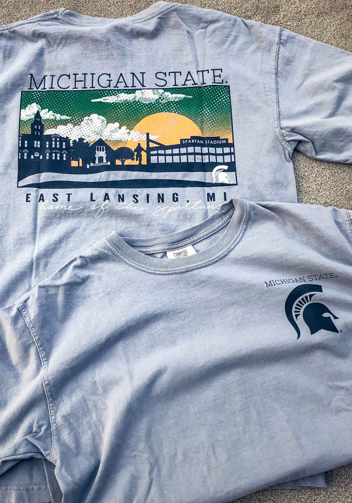 Michigan State Spartans Grey Comfort Colors Short Sleeve T Shirt - Image 3