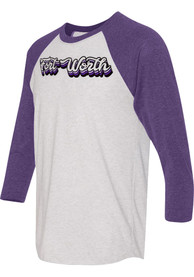 Fort Worth White 70s Stacked Script Raglan ¾ Sleeve T Shirt