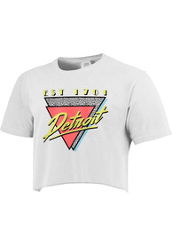 Detroit Women's 90s Themed Cropped Short Sleeve T-Shirt - White