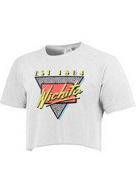 Wichita Women's 90s Themed Cropped Short Sleeve T-Shirt - White