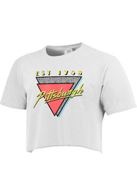 Pittsburgh Women's 90s Themed Cropped Short SLeeve T-Shirt - White