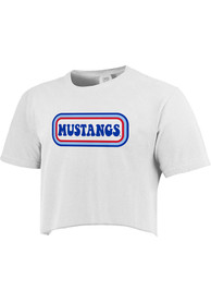 SMU Mustangs Womens Ombre Oval T-Shirt - White