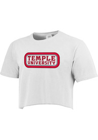 Temple Owls Womens Ombre Oval T-Shirt - White