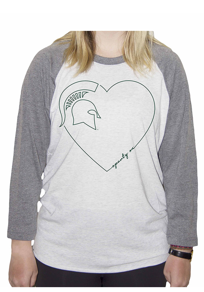 Michigan State Spartans Juniors White Heart Long Sleeve Crew T-Shirt - Image 1