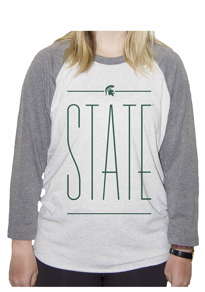Michigan State Spartans Womens White Screen Print Long Sleeve Crew T-Shirt - Image 1