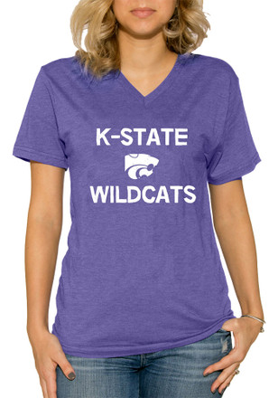 K-State Wildcats Womens Purple Simple V-Neck