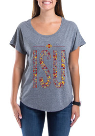 Iowa State Cyclones Womens Grey Floral V-Neck
