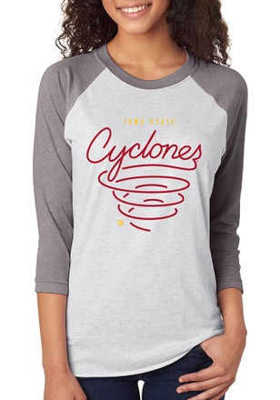Iowa State Cyclones Womens Raglan White T-Shirt