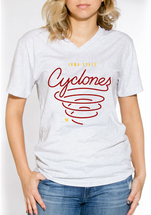 Iowa State Cyclones Womens White Cyclone V-Neck