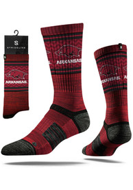 Arkansas Razorbacks Strideline Split Crew Socks - Crimson